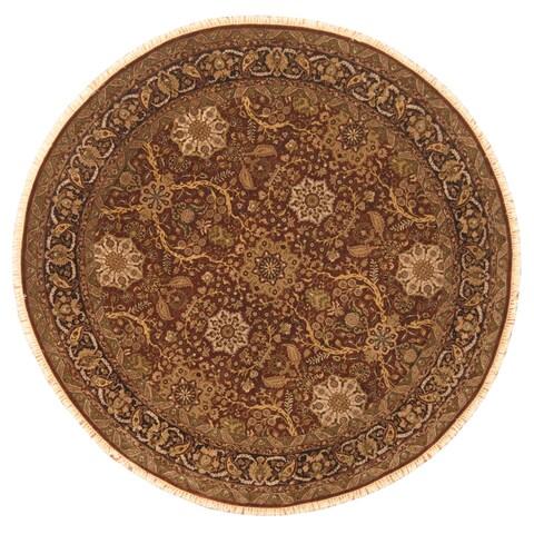 Handmade Herat Oriental Afghan Vegetable Dye Oushak Wool Round Rug - 8'9 x 8 (Afghanistan)