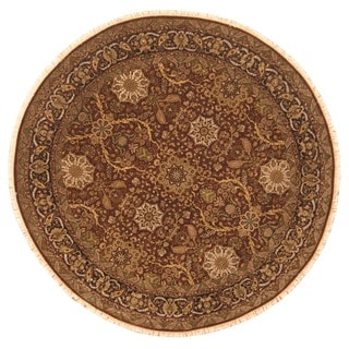 Herat Oriental Afghan Hand-knotted Vegetable Dye Oushak Burgundy/ Dark Brown Wool Round Rug (8'9 x 8