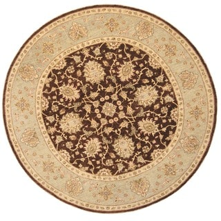 Herat Oriental Afghan Hand-knotted Vegetable Dye Oushak Brown/ Light Blue Wool Round Rug (8'1 x 8'1)