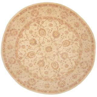 Herat Oriental Afghan Hand-knotted Vegetable Dye Oushak Ivory/ Light Green Wool Round Rug (8' x 8')