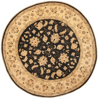 Herat Oriental Afghan Hand-knotted Vegetable Dye Oushak Black/ Ivory Wool Round Rug (8'4 x 8'4)