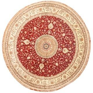 Herat Oriental Indo Hand-knotted Kashmiri Silk Round Rug (8' x 8')