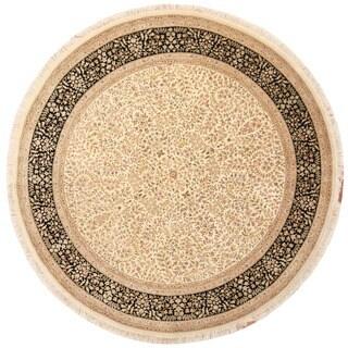 Handmade Herat Oriental Indo Tabriz Wool & Silk Round Rug (India) - 8' x 8'