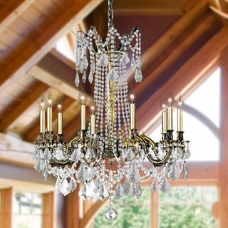 "Italian Elegance Collection 10 Light Antique Bronze Finish Crystal Cast Brass Ornate Chandelier 28"" x 31"""