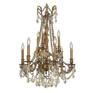 "Italian Elegance Collection 9 light French Gold Finish and Golden Teak Crystal Ornate Chandelier 23"" x 31"""