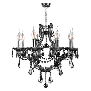 "Maria Theresa Collection 8 Light Chrome Finish and Smoke Crystal Chandelier 26"" x 22"""