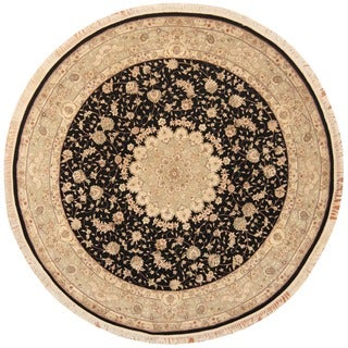 Herat Oriental Indo Hand-knotted Tabriz Black/ Light Green Wool & Silk Round Rug (8' x 8')