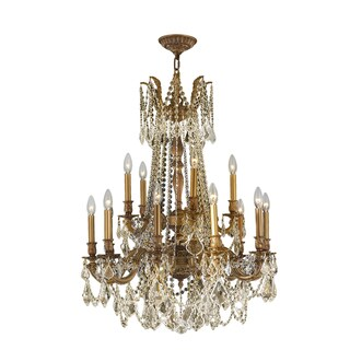 Italian Elegance Collection 15-light French Gold Finish and Golden Teak Crystal Two 2-tier 28 x 36-inch Ornate Chandelier