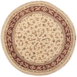Herat Oriental Indo Hand-knotted Tabriz Ivory/ Burgundy Wool & Silk Round Rug (8' x 8')