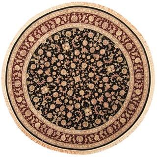 Herat Oriental Indo Hand-knotted Tabriz Black/ Burgundy Wool & Silk Round Rug (8' x 8')