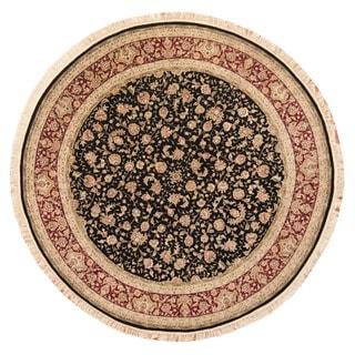 Herat Oriental Indo Hand-knotted Tabriz Black/ Burgundy Wool & Silk Round Rug (8'3 x 8'3)