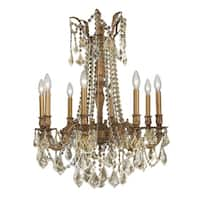 Italian Elegance Collection 8 light French Gold Finish and Golden Teak Crystal Ornate Chandelier 24""
