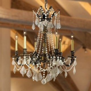 "Italian Elegance Collection 6 Light Antique Bronze Finish Crystal Ornate Chandelier 23"" x 26"""