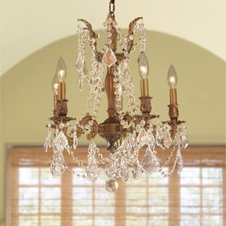"""Italian Elegance Collection 5 lights French Gold Finish and Golden Teak Crystal Chandelier 18"""" x 19"""""""