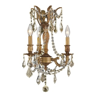 "Italian Elegance Collection 3 Light French Gold Finish and Golden Teak Crystal Ornate Chandelier 13"" x 18"""