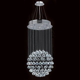 "Modern Contemporary 5 light Chrome Finish Full Lead Crystal Galaxy Sphere Ball Chandelier 16"" x 32"""