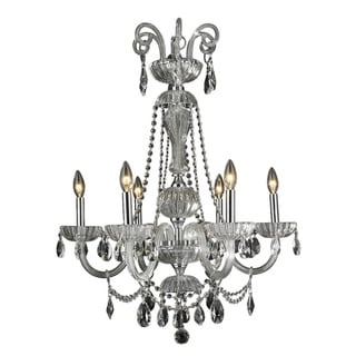 "Romantic Elegance 6 Light Chrome Finish Clear Crystal Chandelier 25"" x 34"""