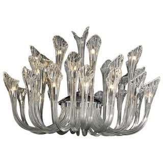 Venetian Italian Style 32-light Fluted Clear Blown Glass Modern Large 36 x 25-inch Chandelier