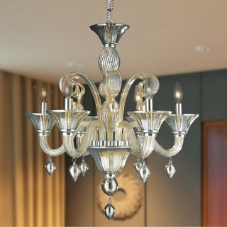 "Murano Italian Style 6 lightsB lown Glass in Golden Teak Finish Chandelier 23"" x 27"""