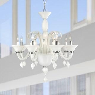 "Murano Italian Style 6 Light Blown Glass in White Finish Chandelier 23"" x 27"" - Chrome"
