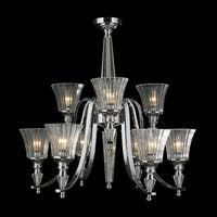 """Euro Style Collection 9 light Chrome Finish and Clear Glass Chandelier 29"""" x 29"""""""