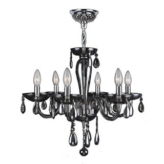 """Euro Style Collection 6 Light Blown Glass in Smoke Finish Chandelier 22"""" x 19"""" Medium"""