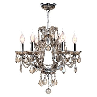 "Maria Theresa Collection 6 Light Chrome Finish and Golden Teak Crystal Chandelier 20"" x 19"""