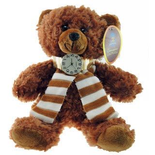 Women's 12-inch Fuzzy Teddy Bear and Easy Read Stretch Band Watch Set