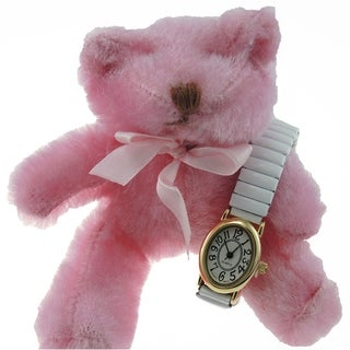 Teddy Bear Set with White Oval Stretch Band Watch and 6-inch Fuzzy Bear
