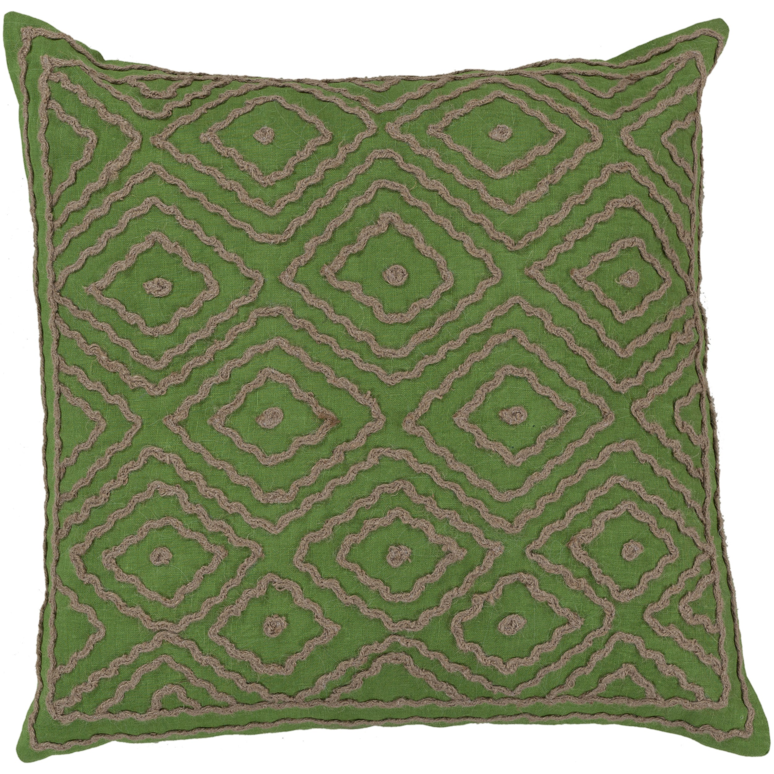 Decorative Sergio Geometric Feather Down or Polyester Filled PIllow 20-inch (Down - Green Feather and Down Filled)