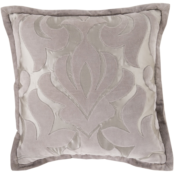 Decorative Goldie Damask Feather Down or Polyester Filled 18-inch Pillow