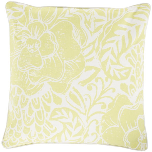 Decorative Poly or Feather Down Filled Daniel Floral 18-inch Pillow