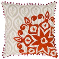 Decorative Justin Floral Feather/Feather Down or Polyester Filled 20-inch Throw Pillow