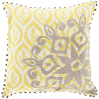 Decorative Justin Floral Feather/ Down or Polyester Filled 20-inch Pillow