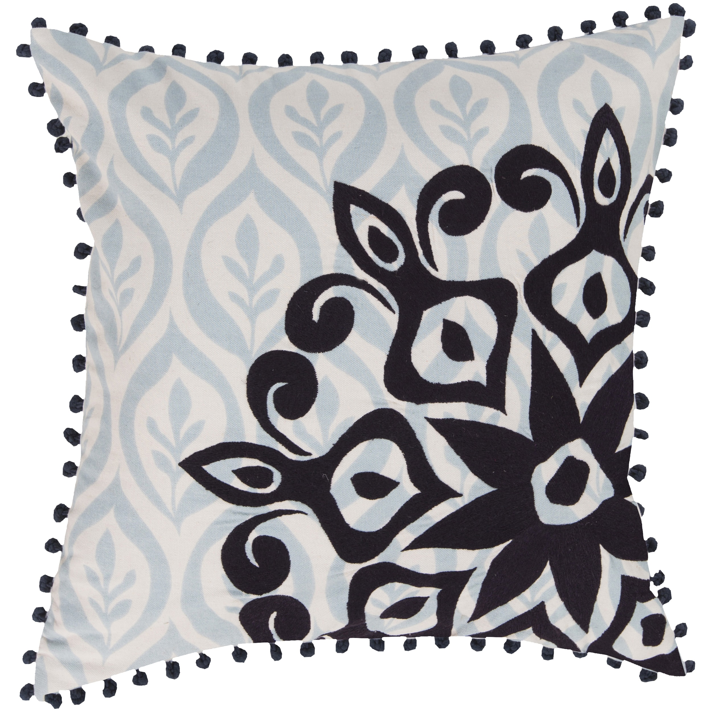 Decorative Justin Floral Feather/Feather Down or Polyester Filled 20-inch Pillow (Polyester - Black)