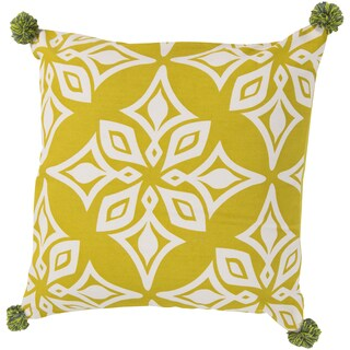Decorative Elaina Floral Feather/ Down or Polyester Filled 20-inch Pillow