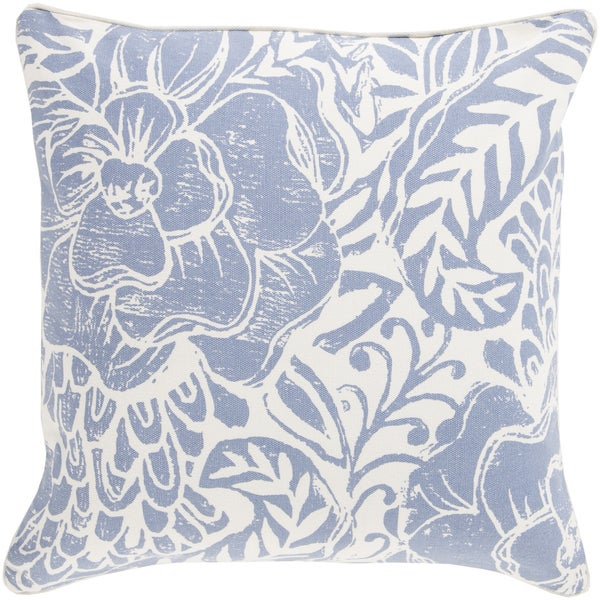 Decorative Daniel Floral Feather/ Down or Polyester Filled 20-inch Pillow