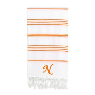 Authentic Pestemal Fouta Original White and Dark Orange Striped Turkish Cotton Bath/Beach Towel with Monogram Initial