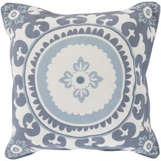 Decorative Carmen Floral Down and Feather or Polyester Filled 22-inch Pillow