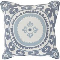 Decorative Carmen Floral Feather Down or Polyester Filled 22-inch Pillow