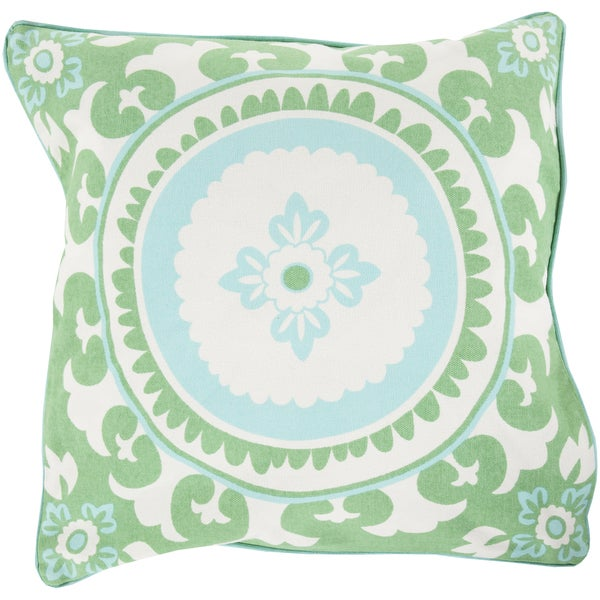 Decorative Carmen Floral Feather/Feather Down or Polyester Filled 20-inch Pillow