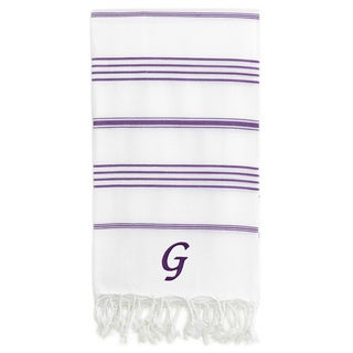 Authentic Pestemal Fouta Original White and Purple Striped Turkish Cotton Bath/Beach Towel with Monogram Initial