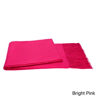 Cashmere & Wool Blend Waterweave Throw (Option: Bright Pink)