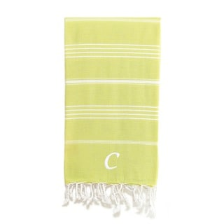 Authentic Pestemal Fouta Original Lime Green and White Striped Turkish Cotton Bath/Beach Towel with Monogram Initial