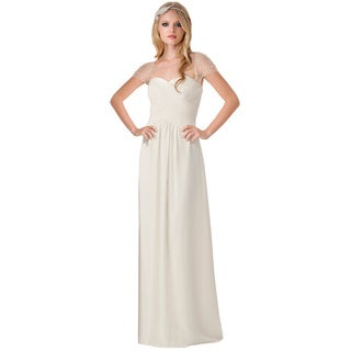 Bari Jay Sweetheart Shirred Beaded Illusion Sleeve Dress