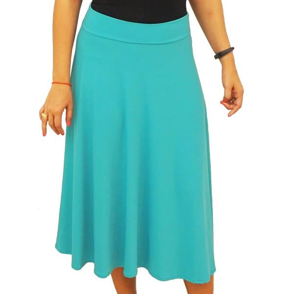 Fold over Waist Short Midi Below Knee Skirt