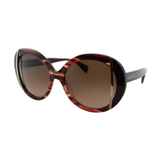Emilio Pucci Women's EP 742S 615 Striped Burgundy Round Plastic Sunglasses
