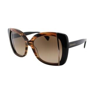 Emilio Pucci Women's EP 741S 265 Striped Brown Plastic Butterfly Sunglasses