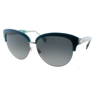 Emilio Pucci Women's EP 724S 425 Petrol And Silver Plastic Cat Eye Sunglasses