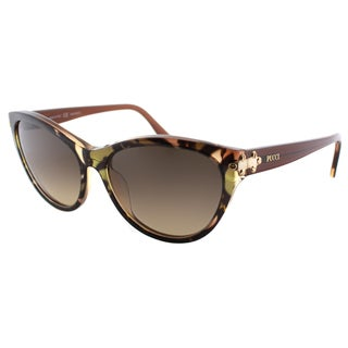 Emilio Pucci Women's EP 715S 236 Griffin On Brown Plastic Cat Eye Sunglasses